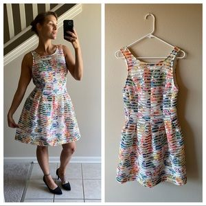 Fit & Flare Rainbow Dress White Mesh Lace NEW